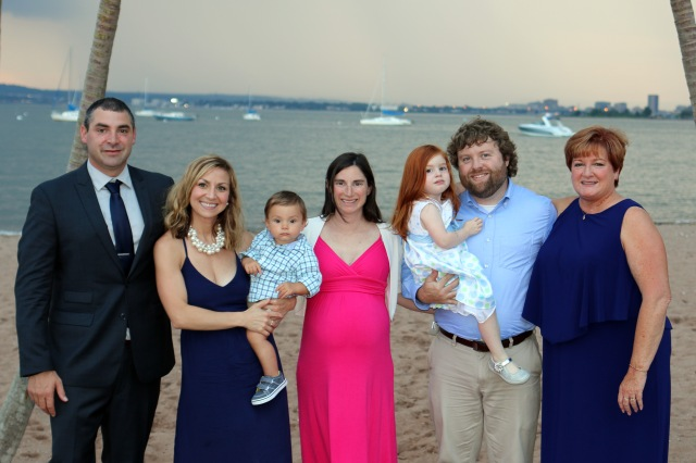 Our whole gang on the beach where RJ got married.